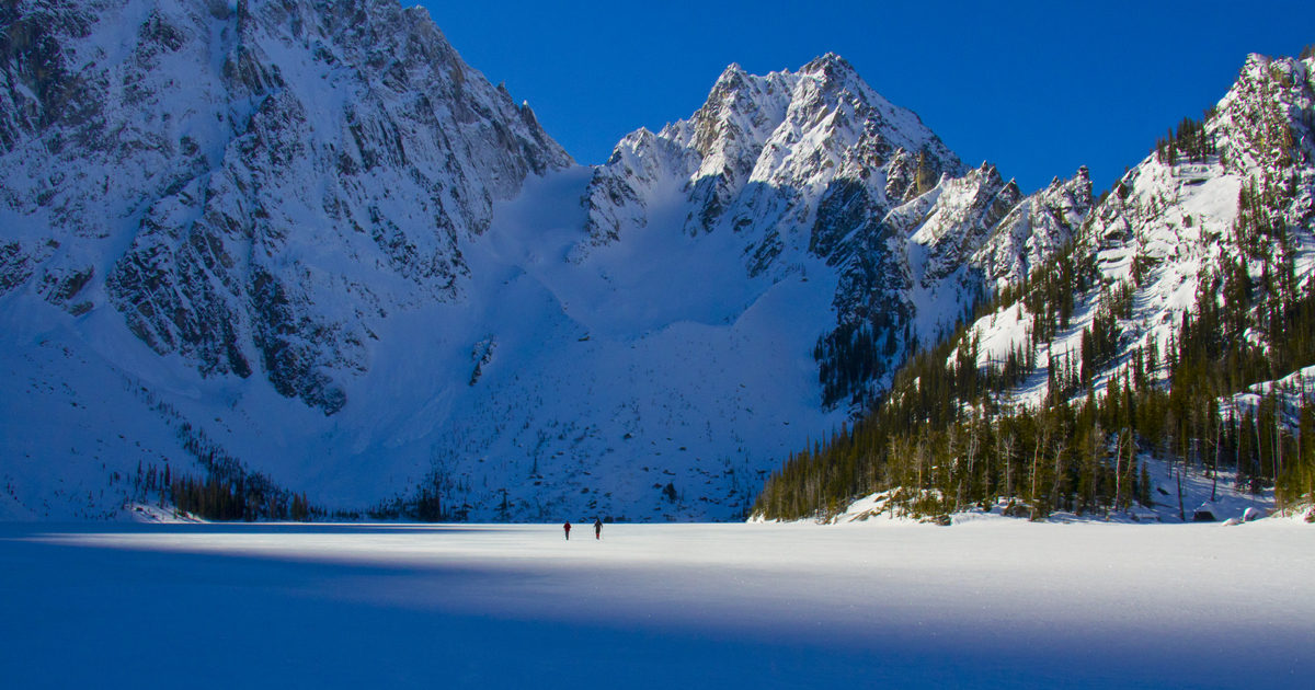 frozen lake colchuck, Alpine Lakes Wilderness, north Cascades, snow backpacking, snow camping