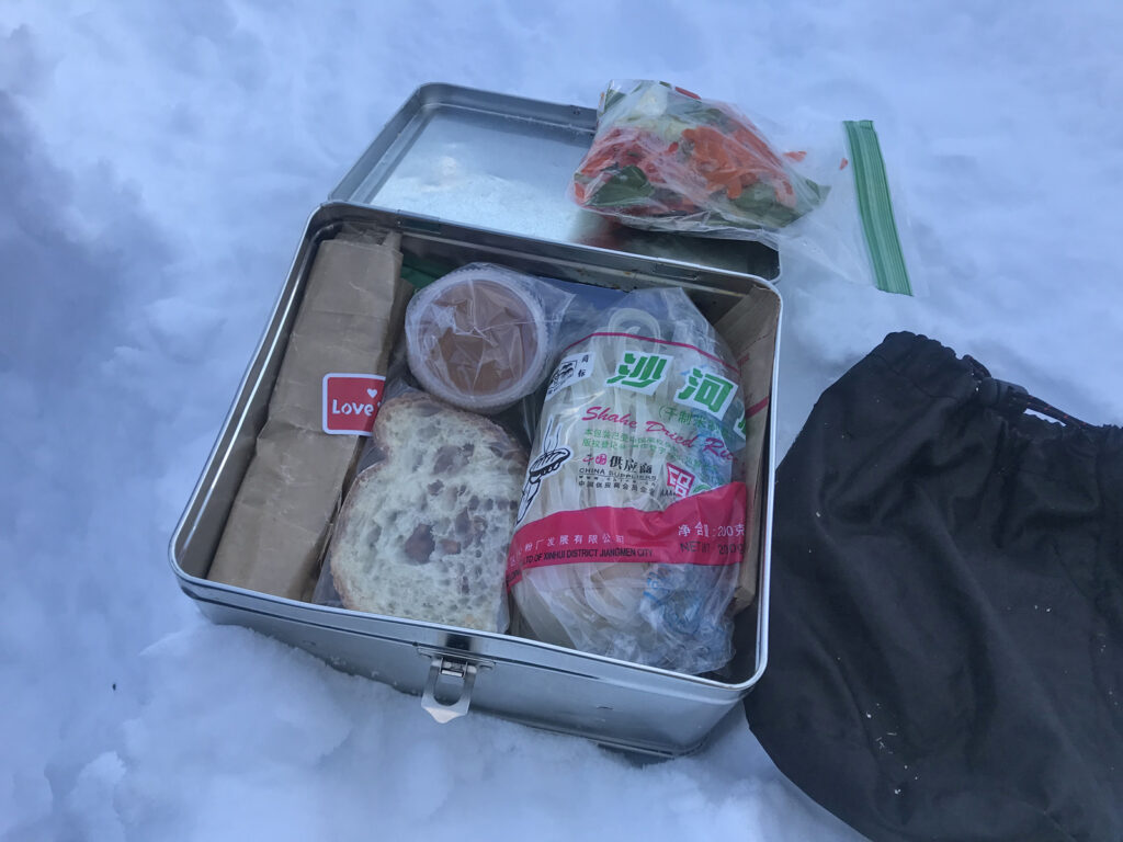 winter backpacking with a metal lunchbox
