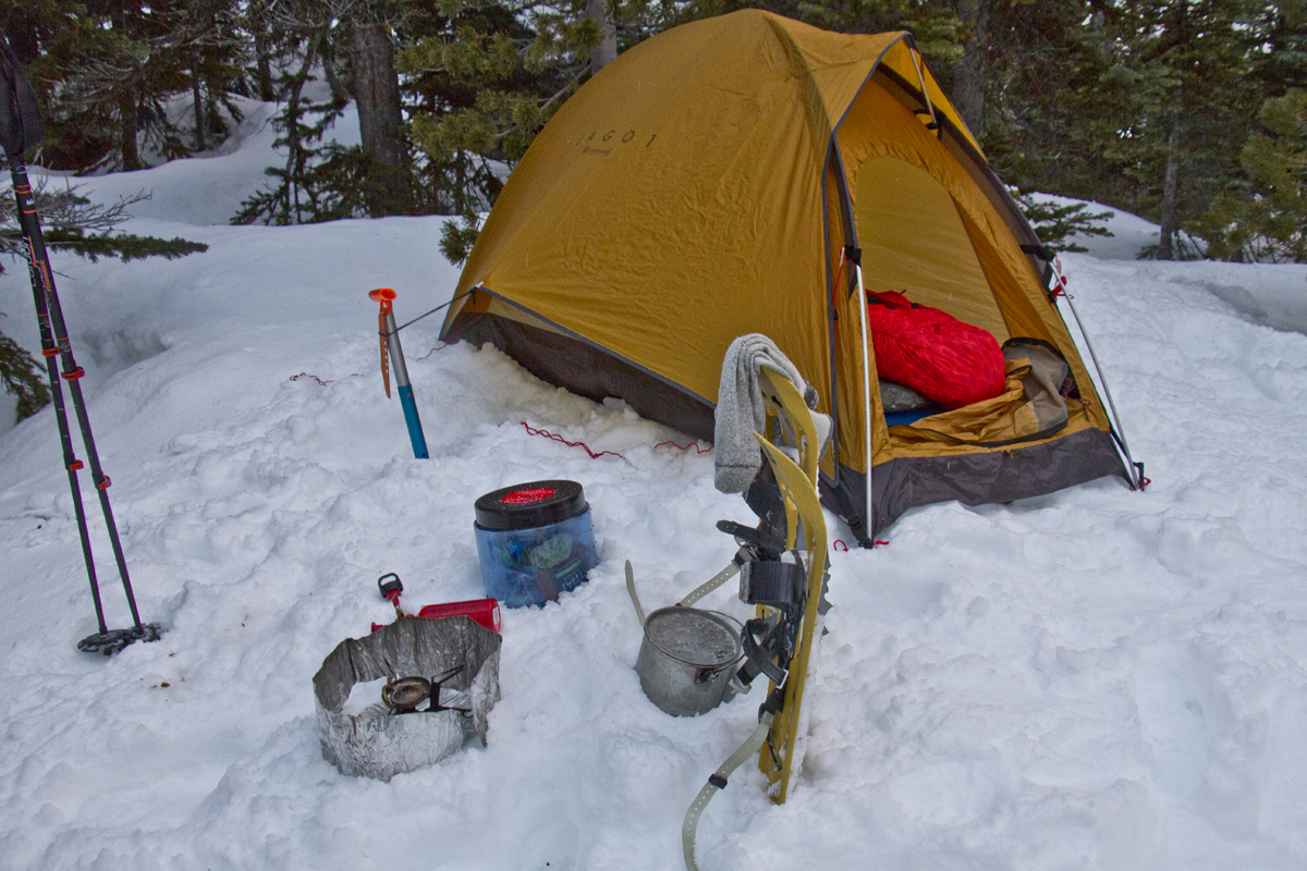 bear-proof food canister, ultra-light backpacking, snow camping