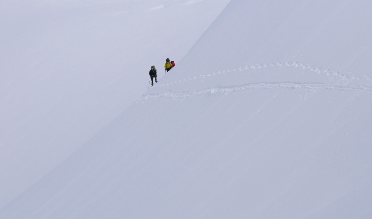 Snowshoes in steep terrain