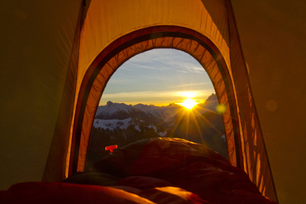 snow camping sunrise