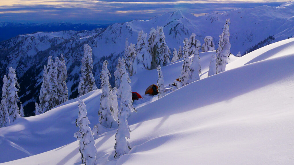winter camp in the cascade mountains