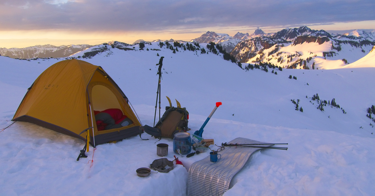 winter backpacking campsite