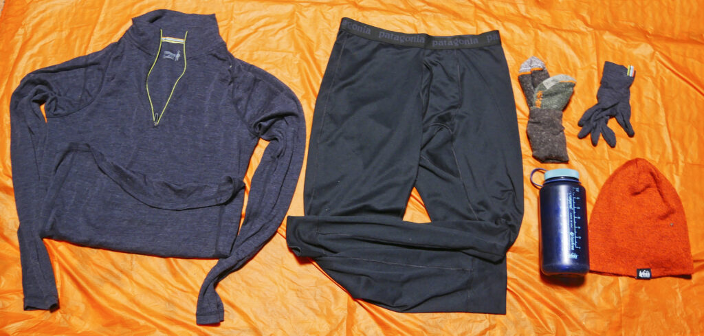 Base layer clothing for winter backpacking