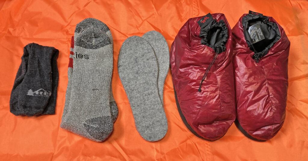socks and down booties