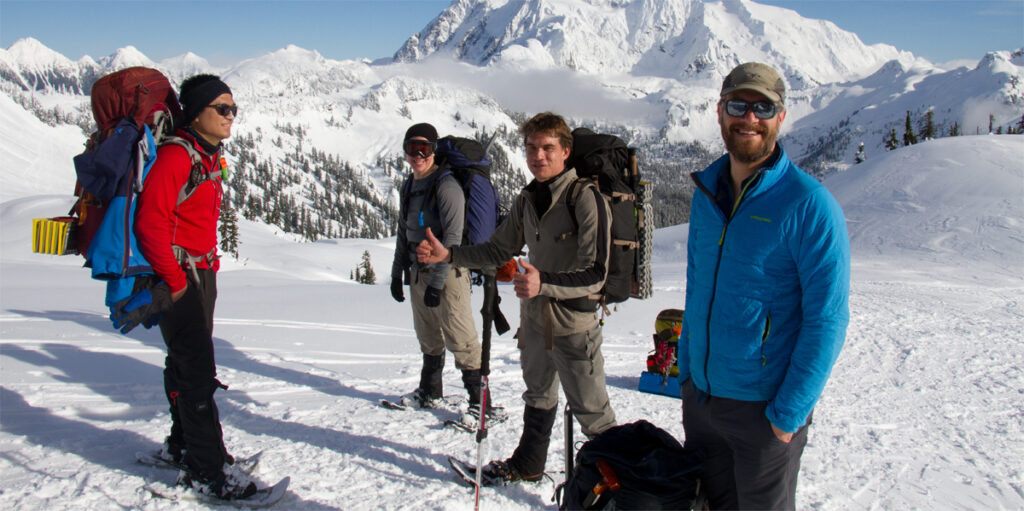 snowshoeing in the Cascade Mountains