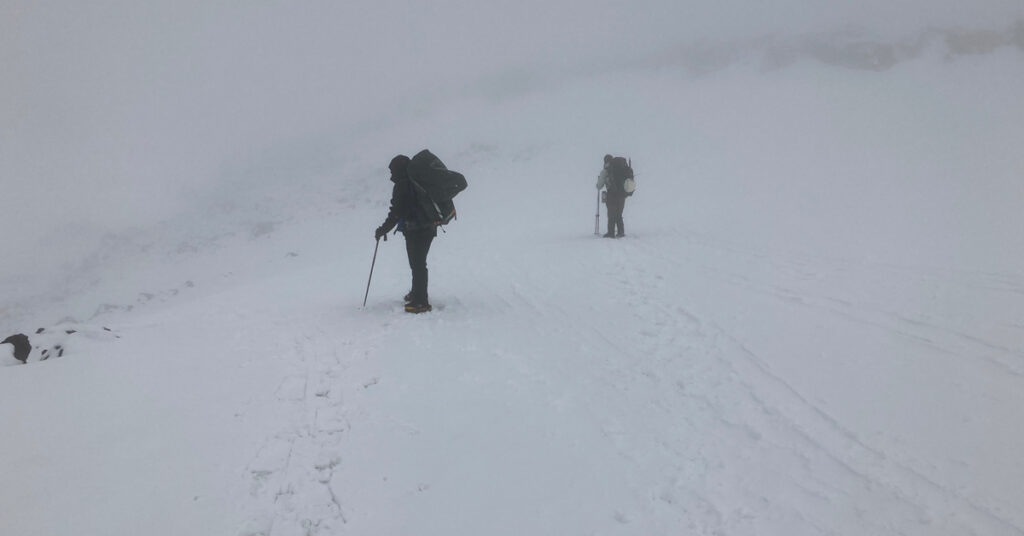 hiking in a whiteout
