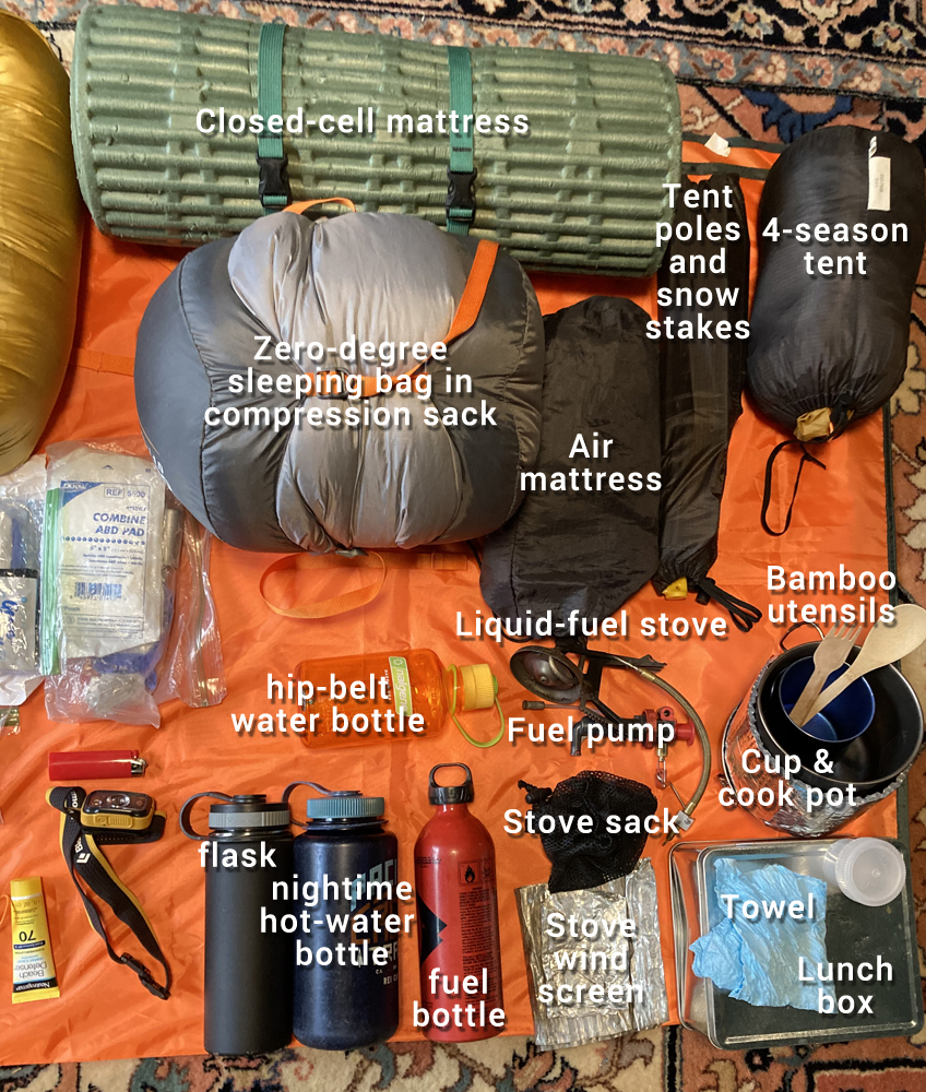 sleeping system and cooking gear for winter backpacking
