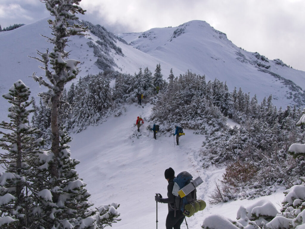 snow camping route finding