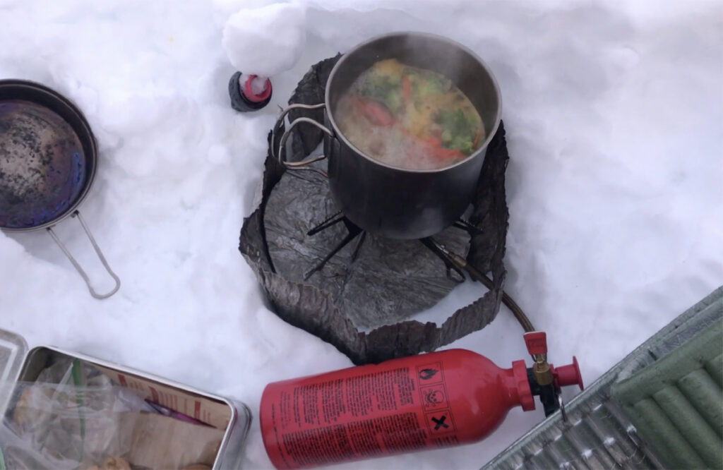 cooking with a liquid fuel stove