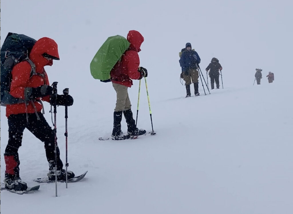 winter backpacking in whiteout conditions